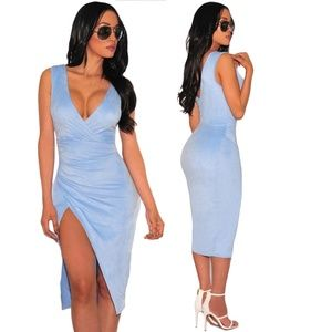 Dresses & Skirts - Powder Blue Bodycon Sleeveless Rouched Dress S